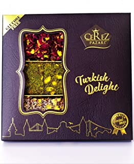 Turkish Delight Luxury Assorted %100 Hand Made Gourmet Gift Box Fantastic Rose & Pomegranate Flavor Experience With Pistachio (9-11 Pcs) 8.8 oz