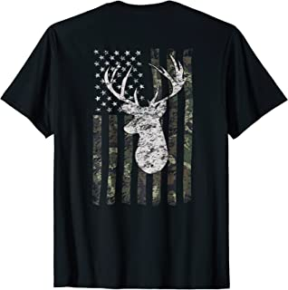 Camouflage Flag Deer Hunting TShirt (On Back)