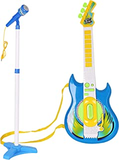 KARMAS PRODUCT Electric Guitar & Mic Playset,Compatible with MP3 Player Musical Sing Toy for Kids -Blue