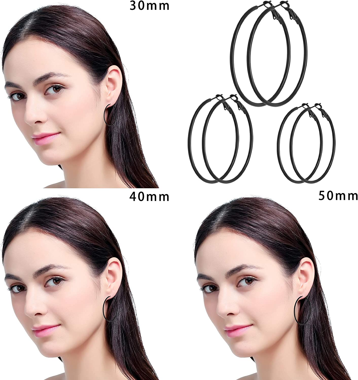 Gold Plated Silver Black Stainless Steel Hoops Womens Earrings Loop Earrings 3-6mm Studs Earrings Cubic Zirconia CZ Earrings 8 Pairs Stud Earrings Hoop Earrings Set for Women Girls