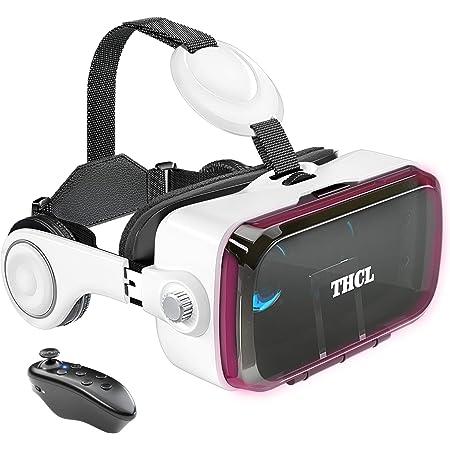 VRゴーグル vrゴーグルスマホ用 VR VRヘッドセット 通話に応答する機能付き アンチブルーレンズ 瞳孔/焦点距離調節 1080PHD画質 3D ゲーム映画動画 4.7~6.2インチの iPhone Android などのスマホ対応 Bluetoothリモコン 0-800近視/0-400遠視適用 120°視野角 vrゴーグル dmm