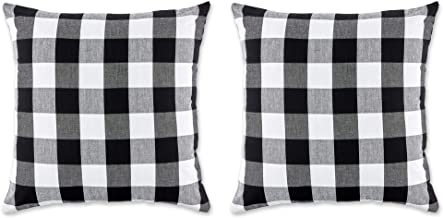 DII Gingham/Check Pillow Cover, 20x20, Buffalo Black/White
