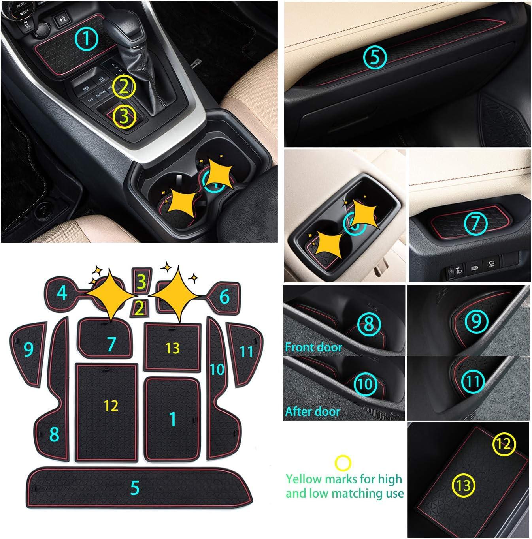 and Door,Anti-Dirty Mats,RAV4 Rubber Slot Pads,Improve The RAV4 Interior Accessories RAV4 Rubber Slot Pads,RAV4 Premium Groove Liners for Cup Holder,Console 2019-2020 RAV4 Brown