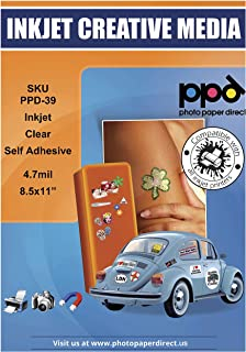 PPD 50 Sheets Inkjet Clear Transparent Self Adhesive Sticker Paper 8.5x11 Full Sheet Photo Quality Instant Dry Scratch and...