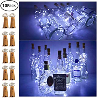 10 Pack 15 LED Wine Bottle Cork Lights, Fairy Mini String Lights Copper Wire, Battery Operated Starry Lights for DIY, Christmas, Halloween, Wedding, Party, Indoor&Outdoor (Cool White)