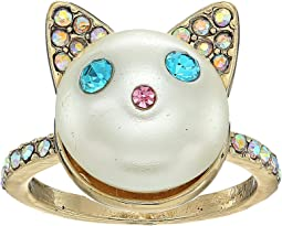 Betsey Johnson - Blue and Gold Pearl Cat Ring