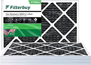 FilterBuy 14x25x1 Air Filter MERV 8 (Allergen Odor Eliminator), Pleated HVAC AC Furnace Filters with Activated Carbon (4-Pack, Black)