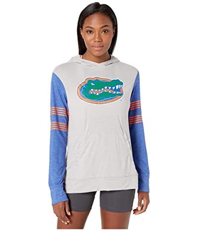 Champion College Florida Gators Color Blocked Long Sleeve Hoodie (Cool Grey/New Royal) Women