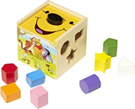 Melissa & Doug Disney Baby Winnie the Pooh Wooden Shape Sorting Cube - Educational Toy With 9 Shapes