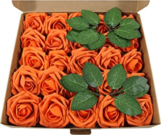 EZFLOWERY Artificial Roses Flowers 25pcs Real Looking Fake Roses w/Stem for DIY Wedding Bouquets Centerpieces Arrangements Bridal Shower Party Home Decorations (Burnt Orange)
