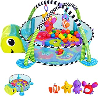 CRZDEAL Kinderspieldecke Mit 4 Spielzeugen Babyaktivit/ätsdecke 1 Kissenpuppe