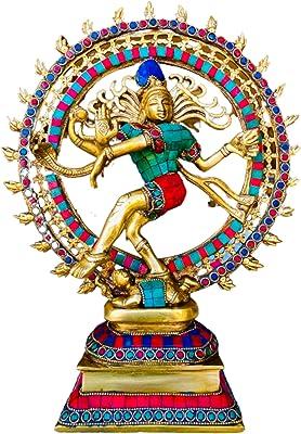 QT S Shiva Nataraja Statue Brass Stone Finish No-48 Lord of The Cosmic Dancer Hindu God Shiva Statue Sanskrit Hinduism Supreme 14X11 in Deity Figurine Handmade Nataraj Shiva Famous in Nepal/India
