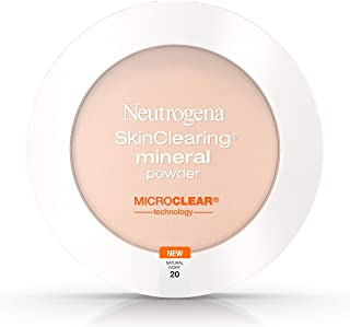 Neutrogena SkinClearing Mineral Acne-Concealing Pressed Powder Compact, Shine-Free & Oil-Absorbing Makeup with Salicylic Acid to Cover, Treat & Prevent Breakouts, Natural Ivory 20,.38 oz