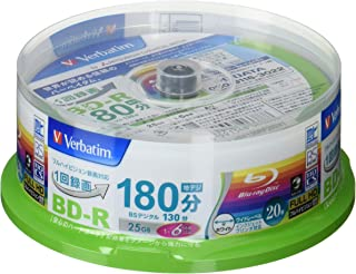20 Verbatim Blu Ray 25 Gb Bd-r Single Layer 6x Speed Original Spindle Printable Blueray
