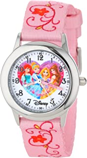 Disney Kids` W000863 Princess Time Teacher Stainless Steel Watch with Pink Nylon Band