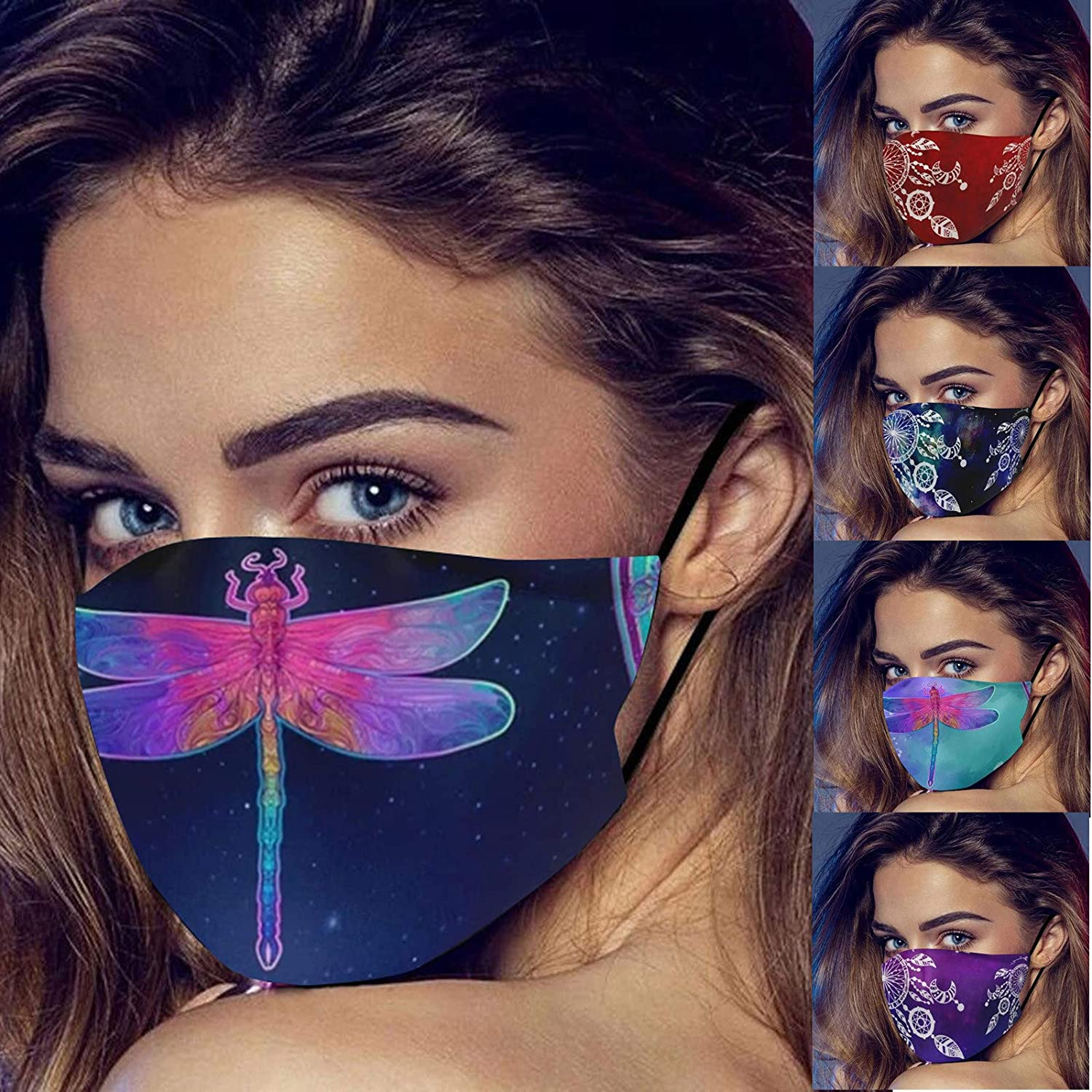 5PCS Colorful Rainbow Spiral Tie Dye Pattern Dust Washable Reusable Filter and Reusable Mouth Warm Windproof Cotton Face