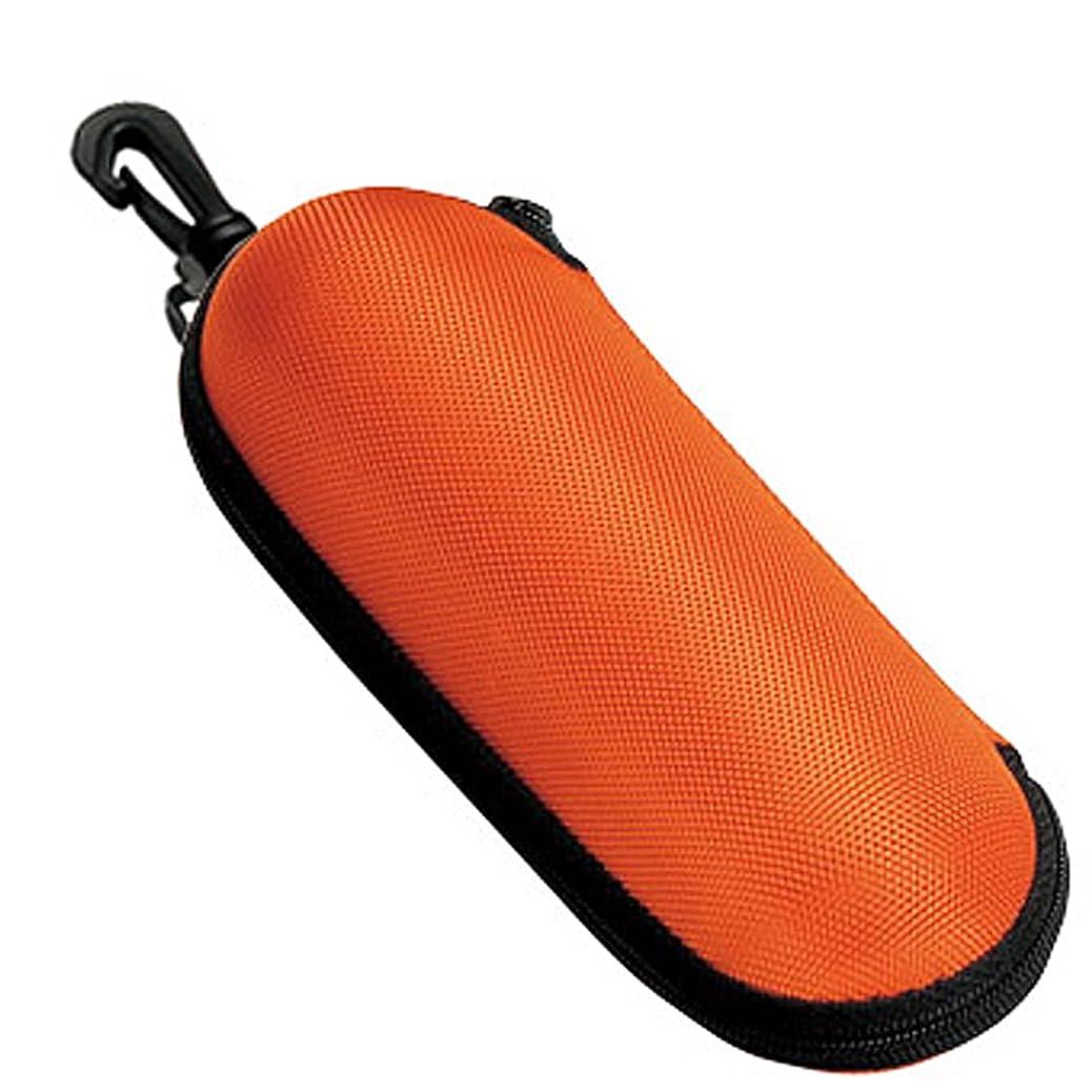 彫る掃くビジョンメガネケース ウレタン セミ ハードケース ラウンド  (ファスナー式 フック付き) オレンジ