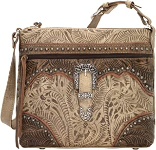 American West Saddle Ridge Zip Top Shoulder Bag Sand/Distressed Charcoal Brown/Dusty Rose One Size