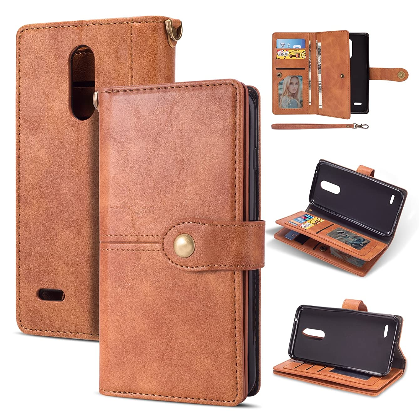 LG K20 Plus Case, LG K20/LG K20V/K20 V/K10 2017/Harmony/LG Grace 4G LTE with Wallet Case,Ankoe Vintage Leather Folio Flop Secure Fit Magnetic Closure Folding Case (Brown)