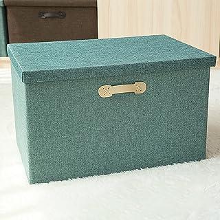 CNYG Boîtes de Rangement Tissu avec Couvercle, Caisse de Rangement Pliable,Panier de Divers Vert 32 * 24 * 18cm