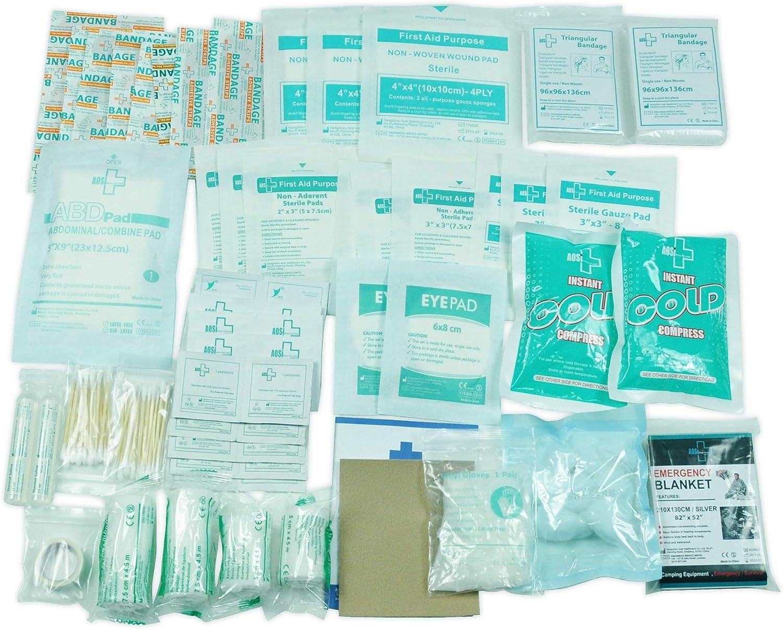 Kit de recambio para bolsas de primeros auxilios, 160 piezas, incluye 2 lavaojos, 2 paquetes de frío instantáneo, vendaje, 6 toallas de limpieza para viajes, hogar, oficina, coche