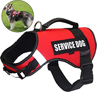 FML PET Adjustable No Pull Service Dog Harness Vest with Reflective Rope & 2 Removable Patches Soft Plastic Handle Back Leash Attachment, No Choke Easy Control for Small Medium Large Dogs