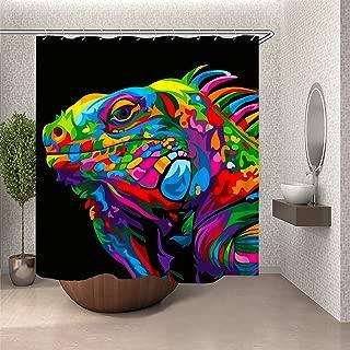 SARA NELL Colorful Tie Dye Rainbow Art Bearded Dragon Lizard Shower Curtain Cloth Fabric Bathroom Decor Set Polyester Fabric Shower Curtain Bathroom Decorations Included with Hooks - 72X72 inches