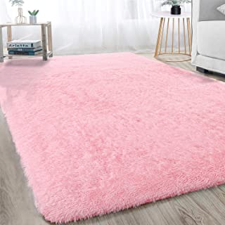 Soft Modern Indoor Shaggy Area Rug for Bedroom Livingroom Dorm Kids Room Home Decorative, Non-Slip Plush Fluffy Furry Fur Rugs Comfy Nursery Accent Floor Carpet 3x5 Feet, Pink