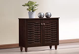 Baxton Studio Wholesale Interiors Winda Modern and Contemporary 2-Door Dark Brown Wooden Entryway Shoes Storage Cabinet