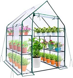 Greenhouse for Outdoors with Observation Windows, Ohuhu Walk-In Plant Greenhouses with Improved Transparent PVC Cover, 3 T...