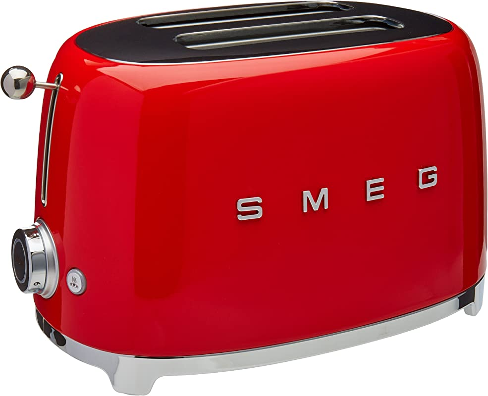 Smeg TSF01RDUS 50 S Retro Style Aesthetic 2 Slice Toaster Red