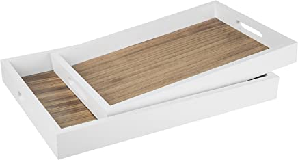 MyGift Decorative Natural Wood Nesting Breakfast Serving Tray with Cutout Handles, Brown/White,