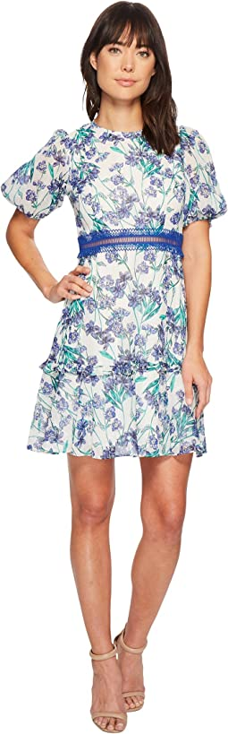 Donna Morgan - Short Sleeve Printed Chiffon Fit and Flare Dress with Faggoting Waist Detail