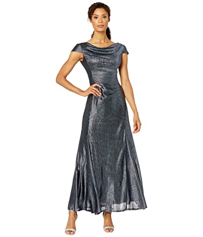 Tahari by ASL Short Sleeve Metallic Gown with Draped Neck and Soft Ruched Bodice (Navy) Women