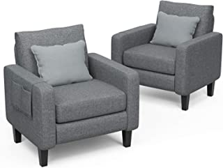 Mecor Accent Armchair Upholstered Single Sofa Chair Set of 2 with Thick Padded Back Cushion Modern Comfy Fabric Side Chair...