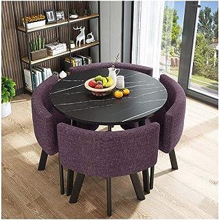 Mesa de comedor Juego de muebles Tabla simple y Juego de sillas Moderno Salón Comedor y Presidente de combinación Inicio Cocina de madera maciza Mesa de comedor 4 Algodón La negociación de negocios Ca