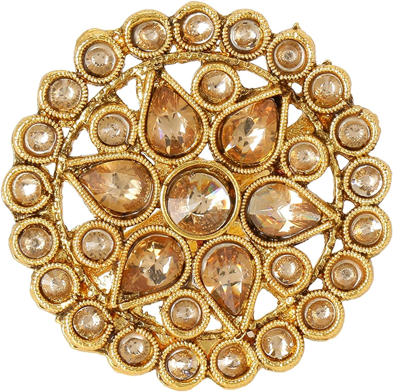Efulgenz Indian Bollywood Traditional Antique Round Pearl Crystal Kundan Adjustable Big Ring Finger Jewelry