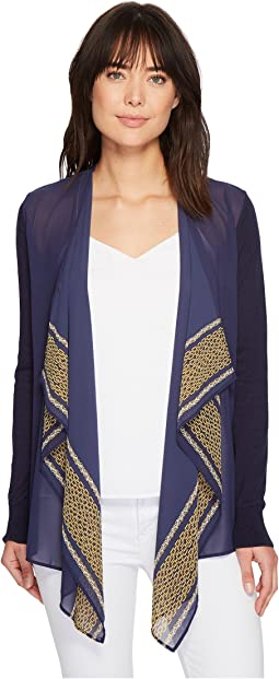 MICHAEL Michael Kors Woven Pattern Mix Cardigan