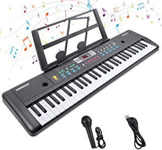 Tastiera Musicale 61 Tasti Tastiera Elettronica Pianoforte Tastiera Portatile Tastiera Digitale Piano Keyboard con Leggio ...