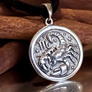 Scorpio Zodiac Necklace 925 Sterling Silver Scorpion Horoscope Star Sign Pendant Coin Disc Medallion Choker Charm Astrology Jewelry Born in November Birthday Gifts for Women