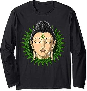 Buddha Weed Smoking Stoner Marijuana Leaves Zen Cannabis Long Sleeve T-Shirt