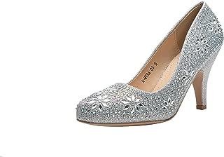 (L-MAYR05 Princess Sparkle Crystal Gem Rhinestone Glitter Formal Pumps, Wedding Shoes Evening Dress Heels for Women