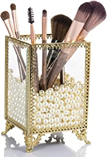 Display4top Makeup Organizer Gold Glass Vintage Cosmetic Display Cases Makeup Brush Holder with Free White Pearls
