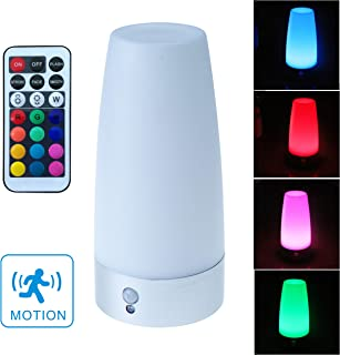 WRalwaysLX Retro LED Night Light Motion Sensor ,Small Table Lamp with Wireless Remote Control,Battery Powered Lamp for Kids Room,Bedroom,Kitchen