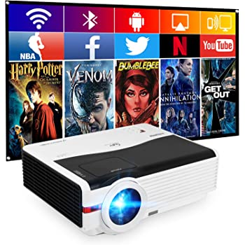 LED Tarjeta SD Compatible con HDMI WiFi USB Android 6.0 1080p Garsent Proyector de v/ídeo Full HD 4500 l/úmenes VGA AV