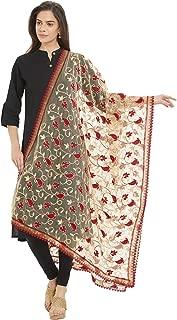 Dupatta Bazaar Woman's Emroidered Beige & Maroon Net Dupatta