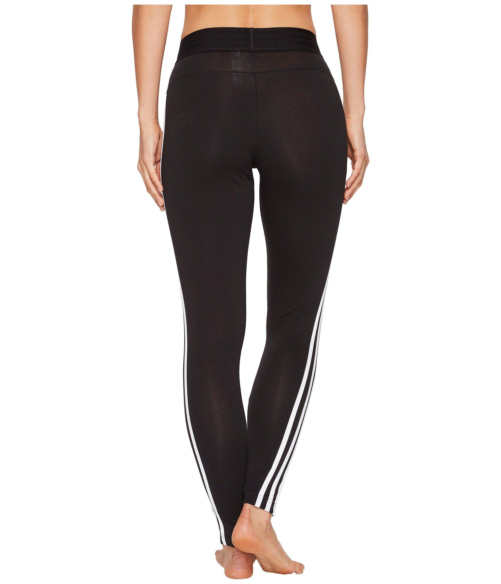 Adidas 3 white stripe Tights Black Essential CAwqHB