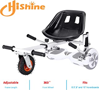 HISHINE - Shock Absorbing Hoverboard Seat Attachment, Colorful Kids Go Kart and Adjustable Length, Health Sport