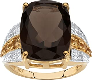 14K Yellow Gold over Sterling Silver Emerald Cut Genuine Smoky Quartz and Round Yellow Genuine Citrine Ring