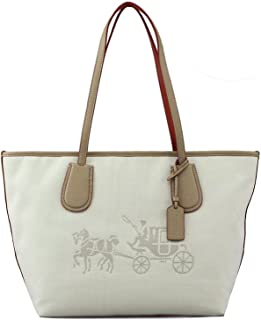 Embossed Horse and Carriage Taxi Khaki Leather Satchel 35337M
